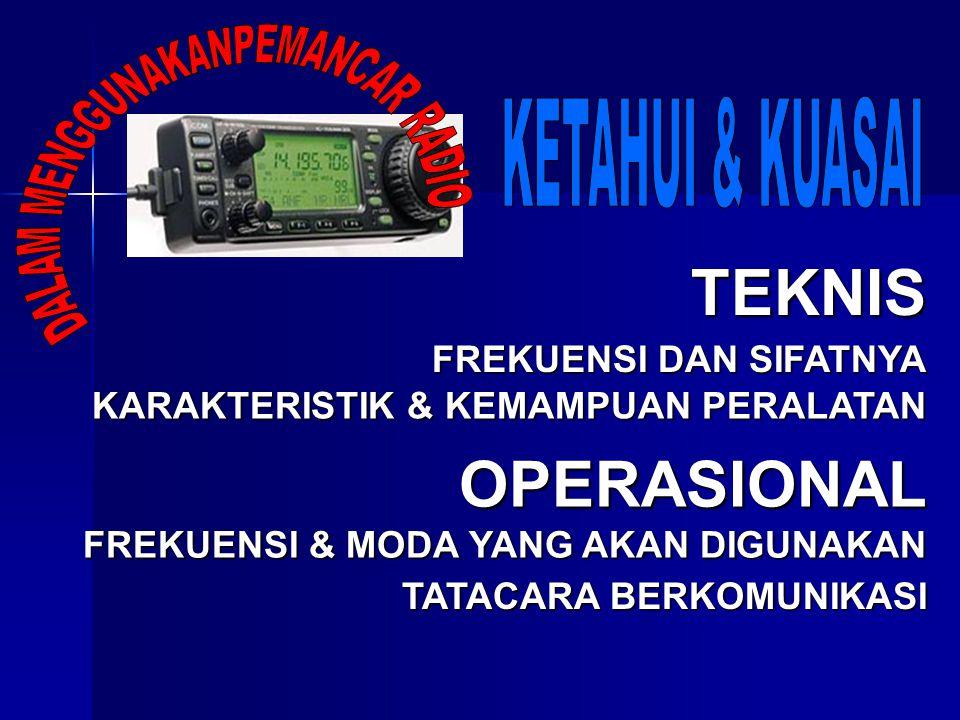 TEKNIS OPERASIONAL DALAM MENGGUNAKANPEMANCAR RADIO KETAHUI & KUASAI