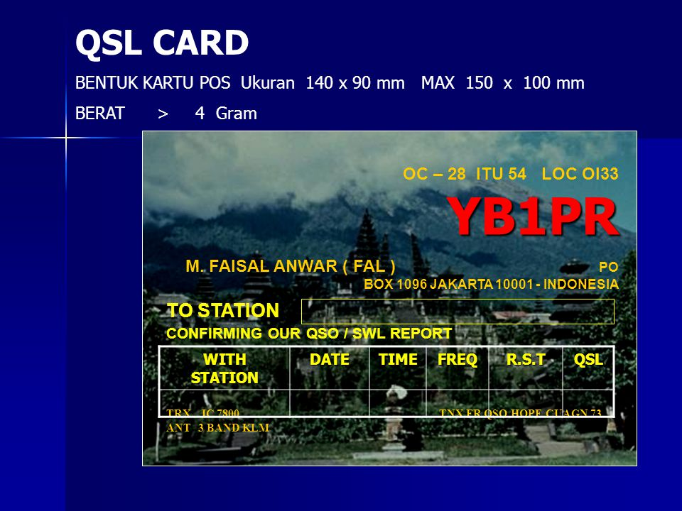 QSL CARD TO STATION CONFIRMING OUR QSO / SWL REPORT