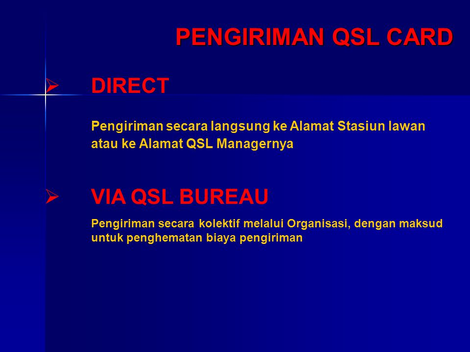 PENGIRIMAN QSL CARD DIRECT