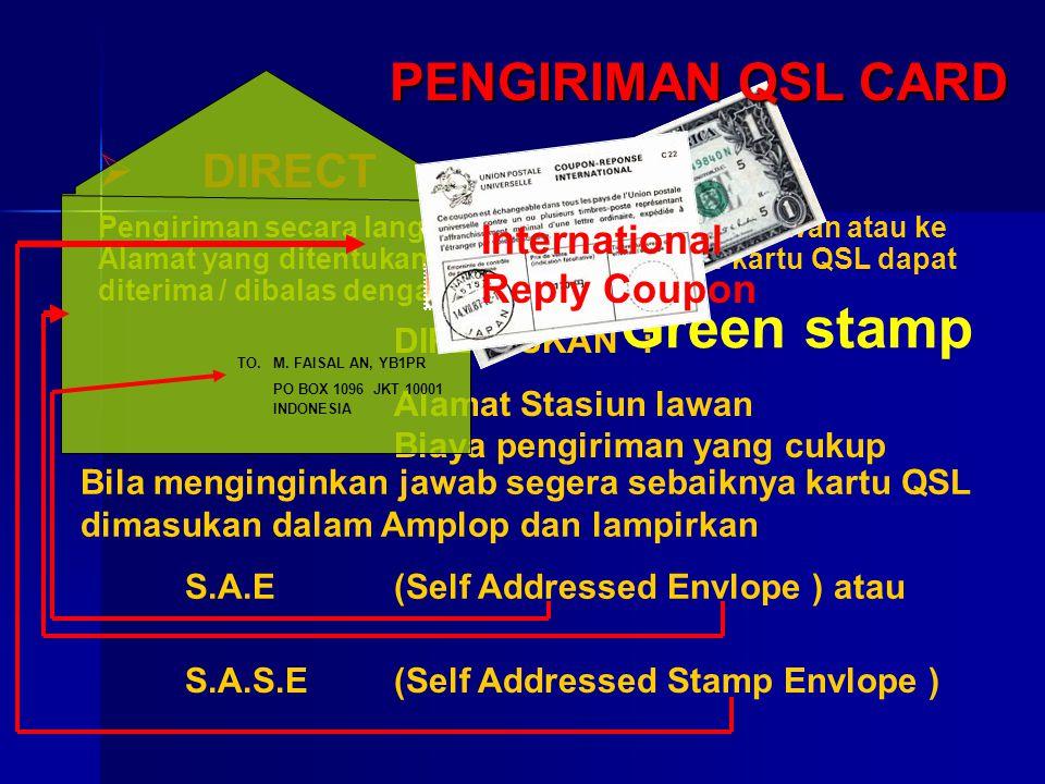 Green stamp PENGIRIMAN QSL CARD DIRECT International Reply Coupon