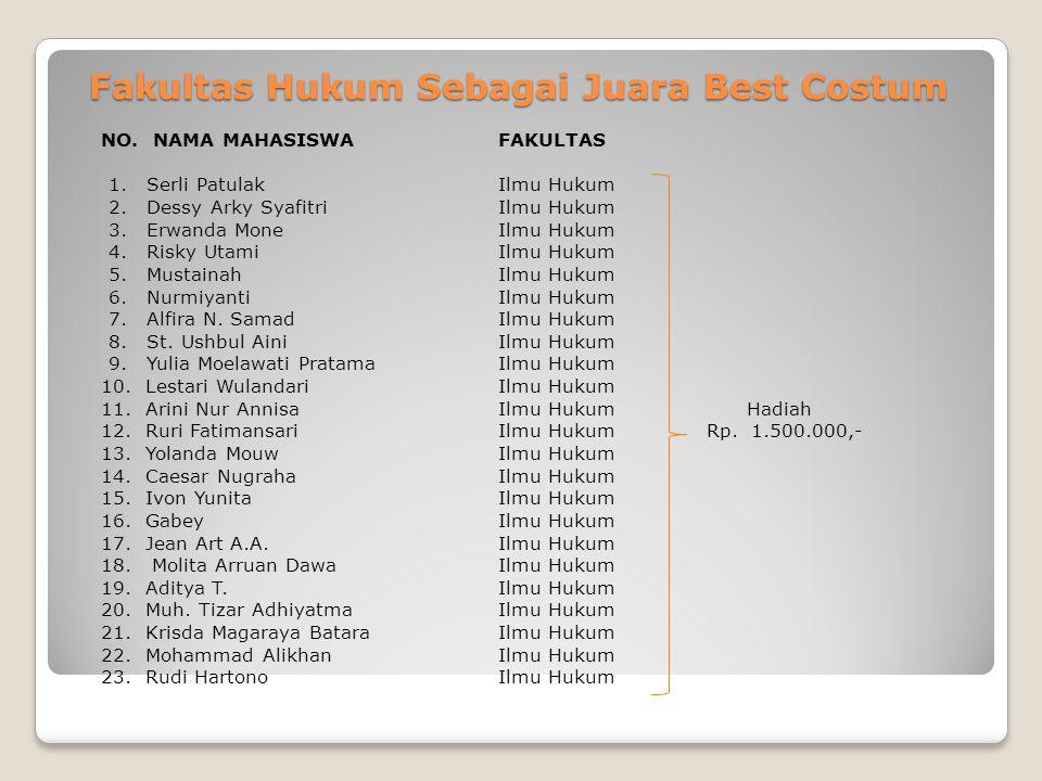 Fakultas Hukum Sebagai Juara Best Costum