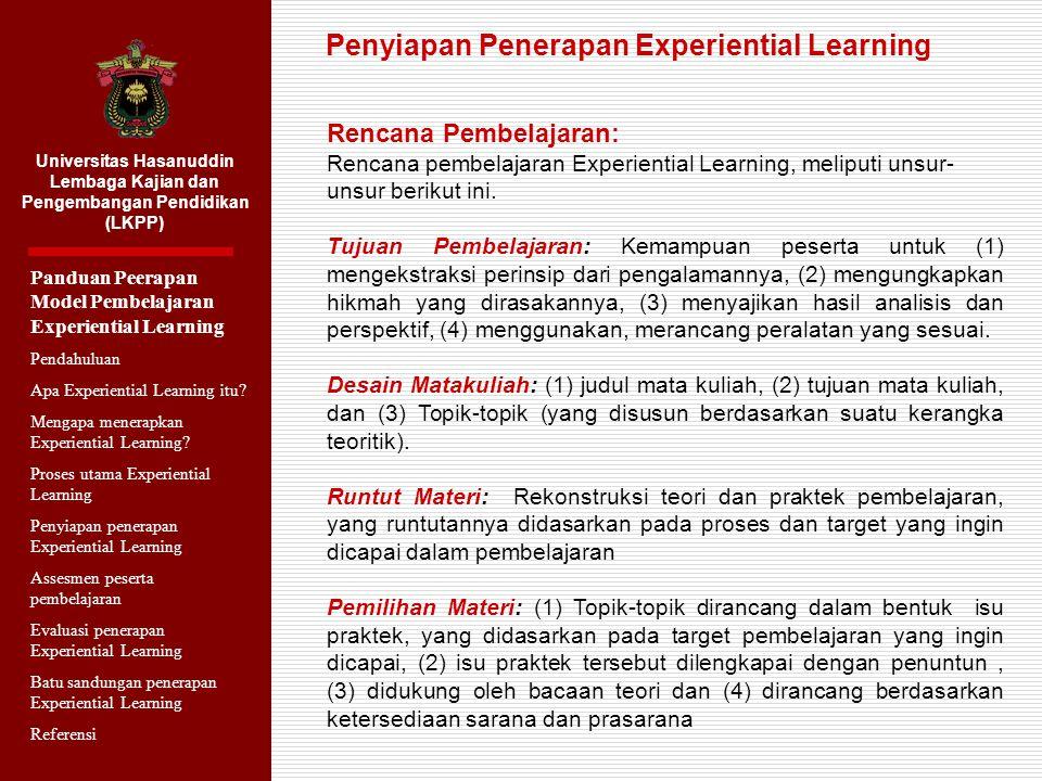Penyiapan Penerapan Experiential Learning