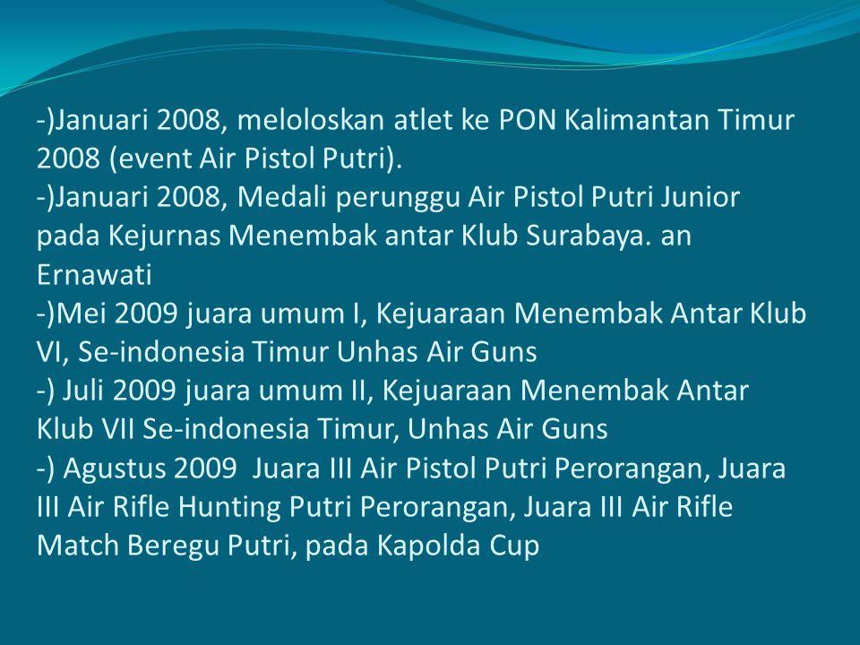 -)Januari 2008, meloloskan atlet ke PON Kalimantan Timur 2008 (event Air Pistol Putri).