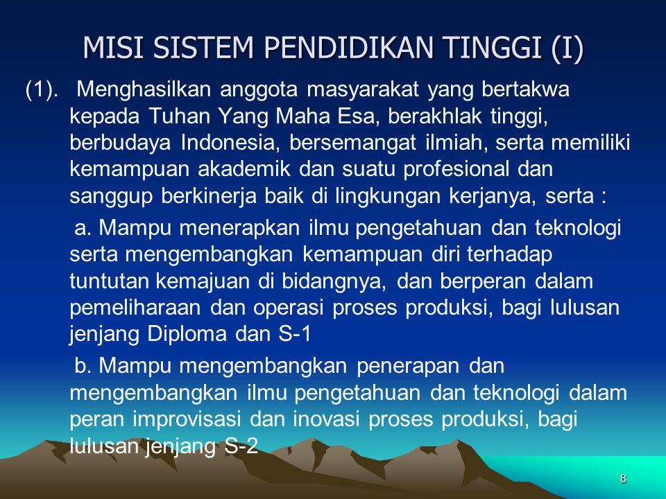 MISI SISTEM PENDIDIKAN TINGGI (I)