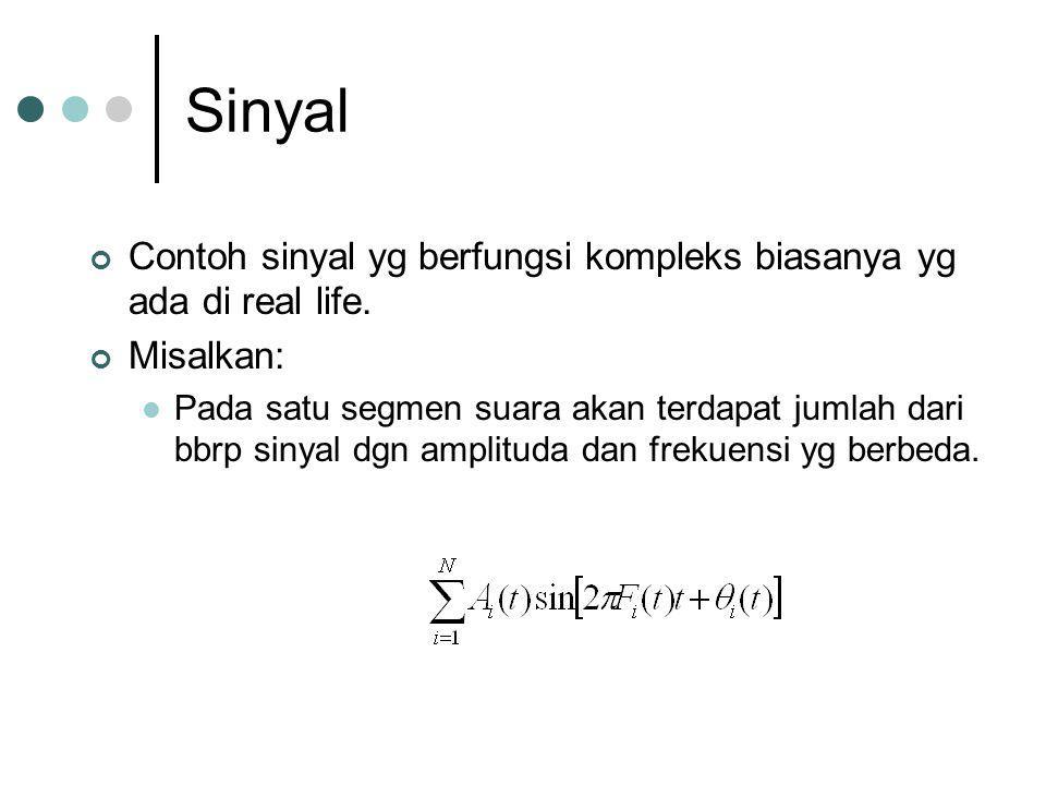 Sinyal Contoh sinyal yg berfungsi kompleks biasanya yg ada di real life. Misalkan: