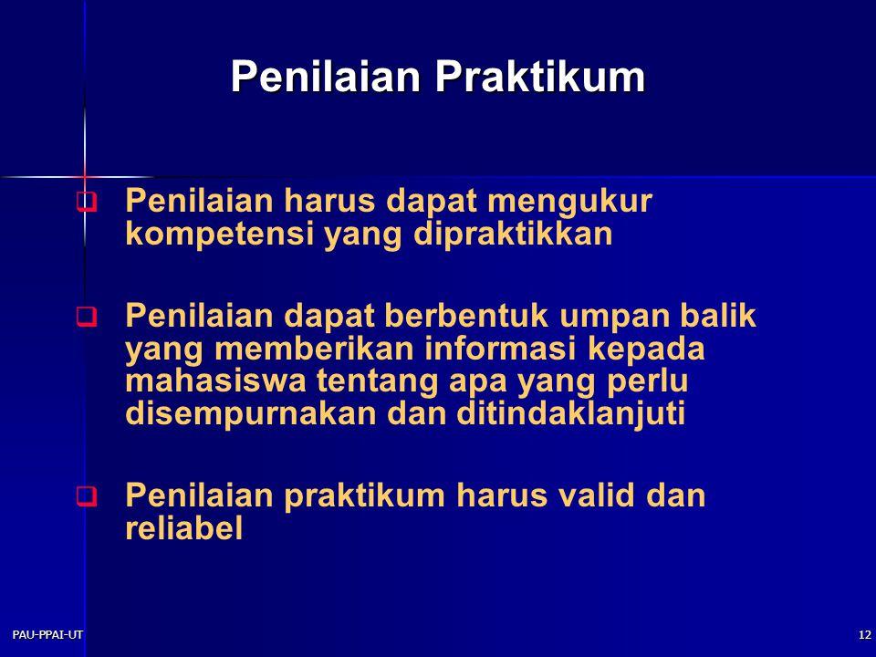 Penilaian Praktikum Penilaian harus dapat mengukur kompetensi yang dipraktikkan.