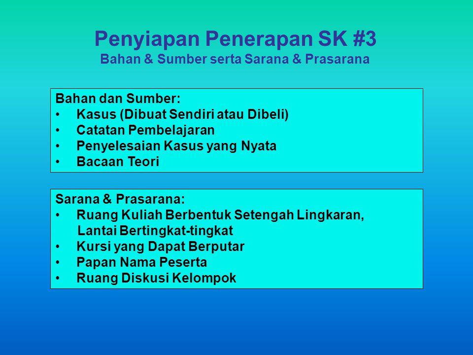 Penyiapan Penerapan SK #3 Bahan & Sumber serta Sarana & Prasarana