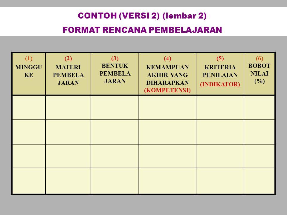 CONTOH (VERSI 2) (lembar 2) FORMAT RENCANA PEMBELAJARAN