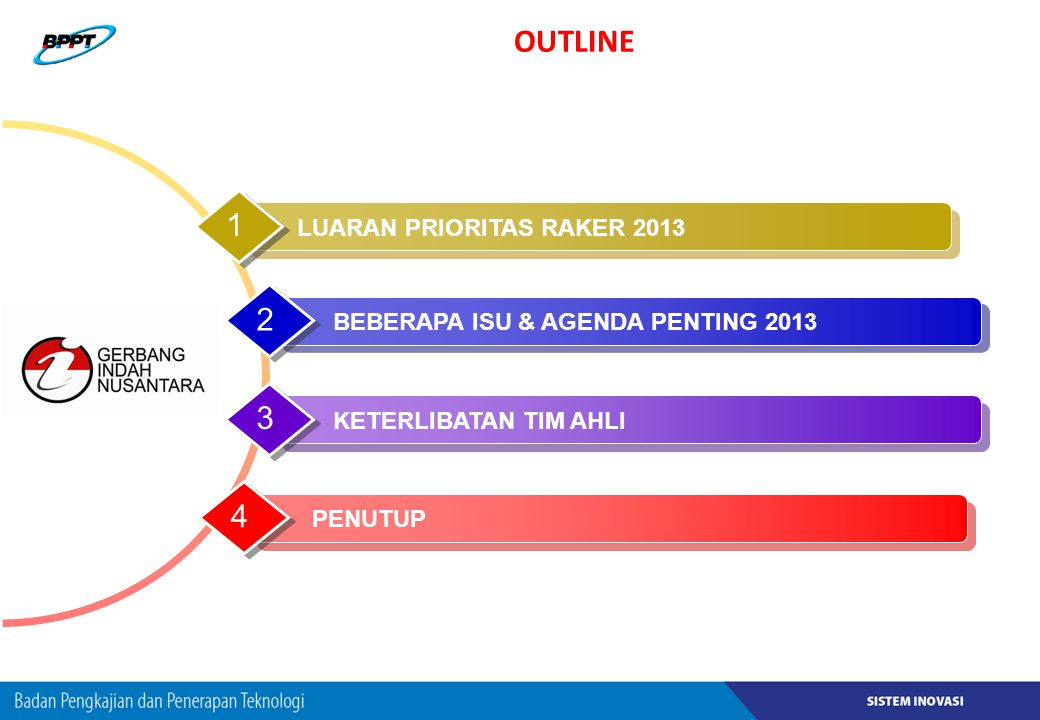 OUTLINE 1 2 3 4 LUARAN PRIORITAS RAKER 2013