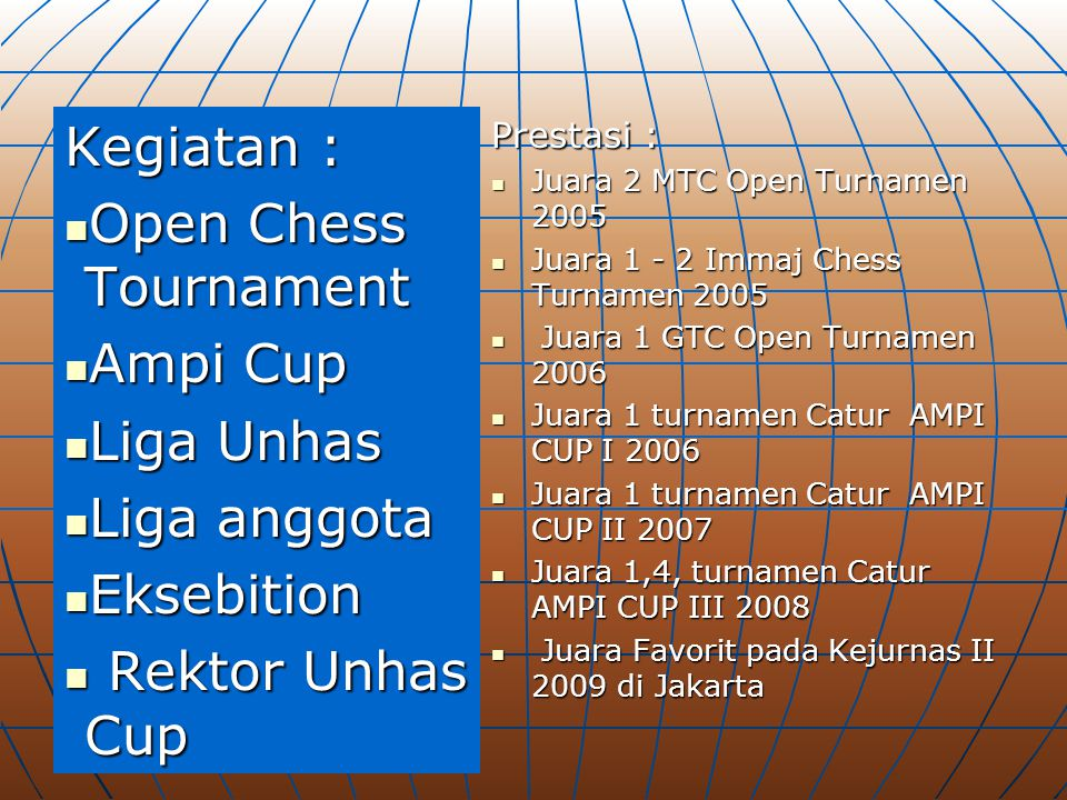 Kegiatan : Open Chess Tournament Ampi Cup Liga Unhas Liga anggota