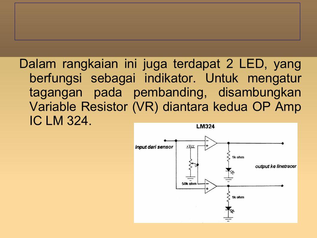 Dalam rangkaian ini juga terdapat 2 LED, yang berfungsi sebagai indikator.
