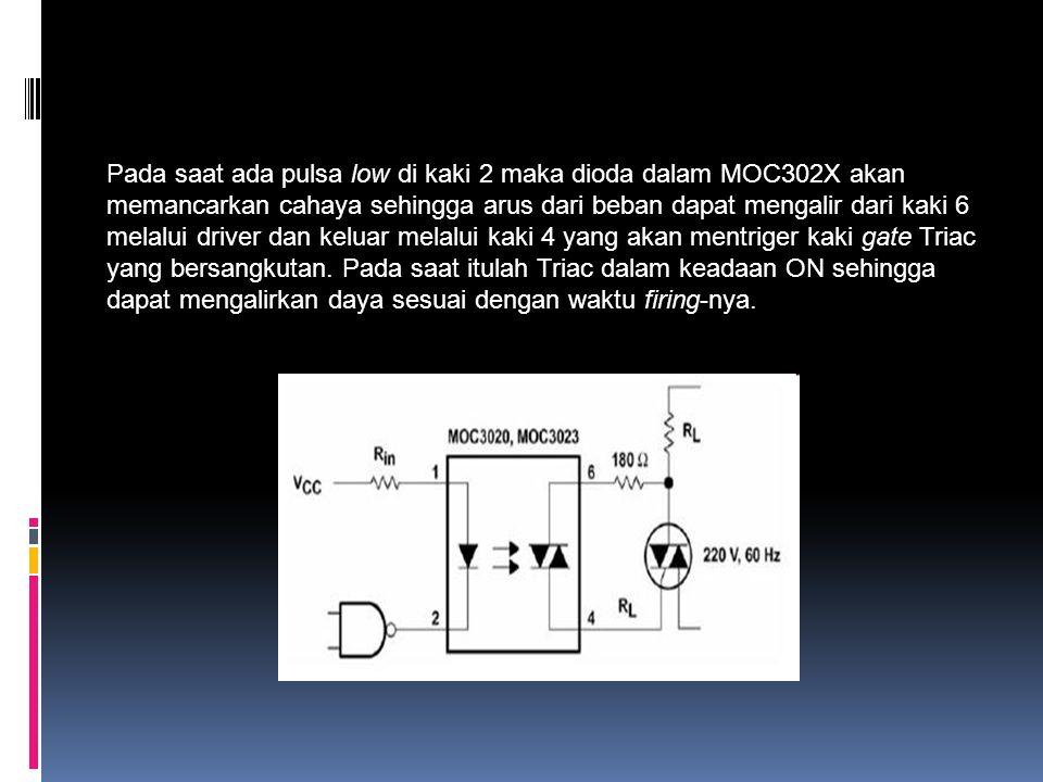 Pada saat ada pulsa low di kaki 2 maka dioda dalam MOC302X akan memancarkan cahaya sehingga arus dari beban dapat mengalir dari kaki 6 melalui driver dan keluar melalui kaki 4 yang akan mentriger kaki gate Triac yang bersangkutan.