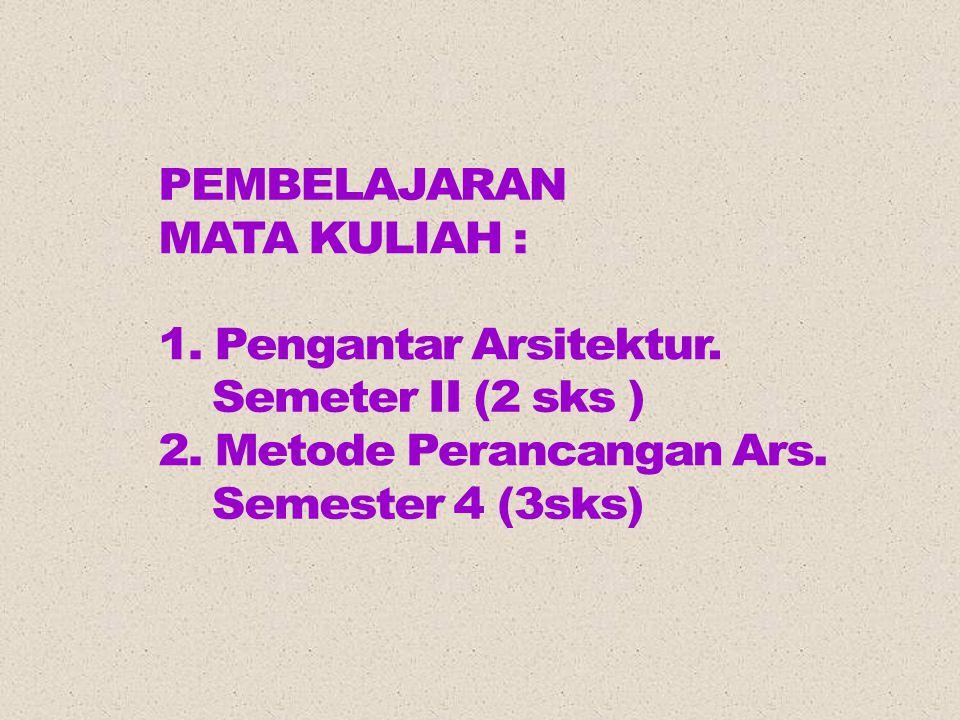 PEMBELAJARAN MATA KULIAH : 1. Pengantar Arsitektur. Semeter II (2 sks ) 2. Metode Perancangan Ars.