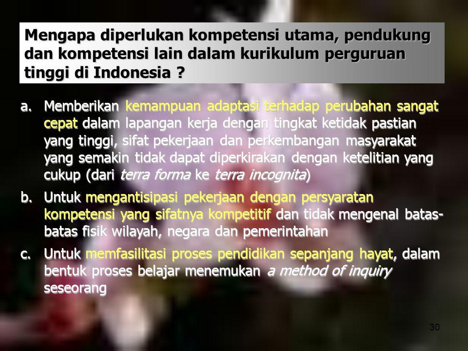 Mengapa diperlukan kompetensi utama, pendukung dan kompetensi lain dalam kurikulum perguruan tinggi di Indonesia