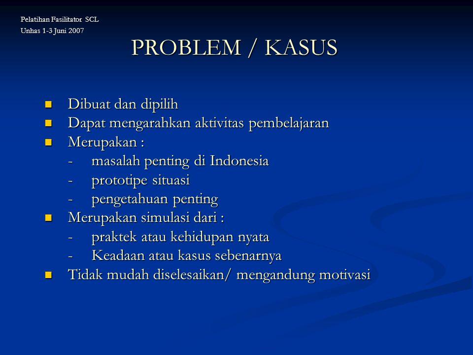 PROBLEM / KASUS Dibuat dan dipilih