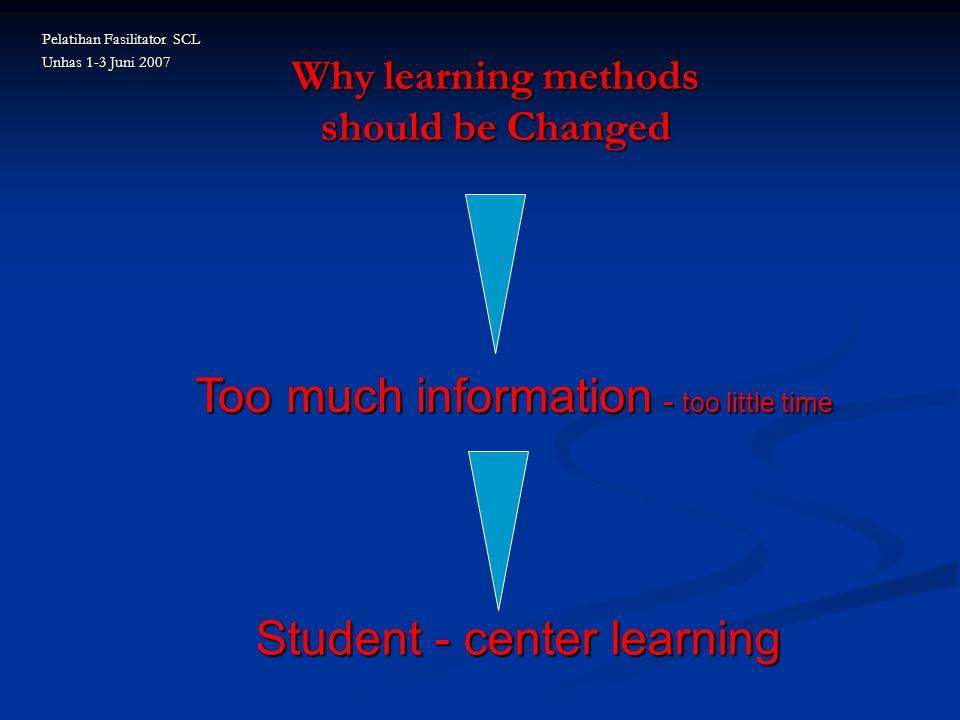 Why learning methods should be Changed