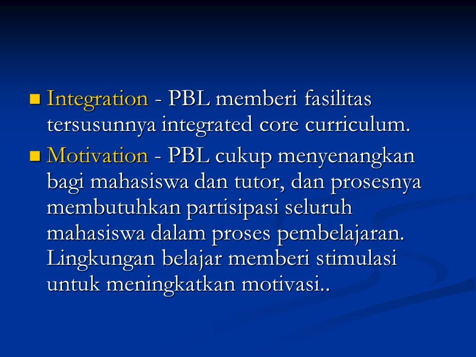 Integration - PBL memberi fasilitas tersusunnya integrated core curriculum.