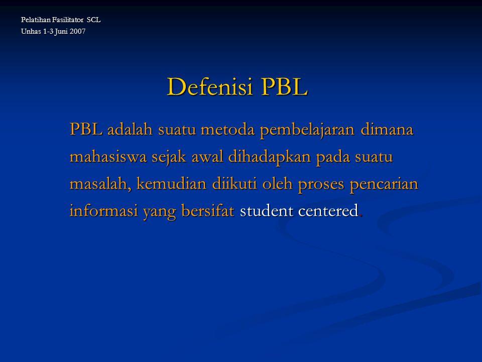 Defenisi PBL PBL adalah suatu metoda pembelajaran dimana