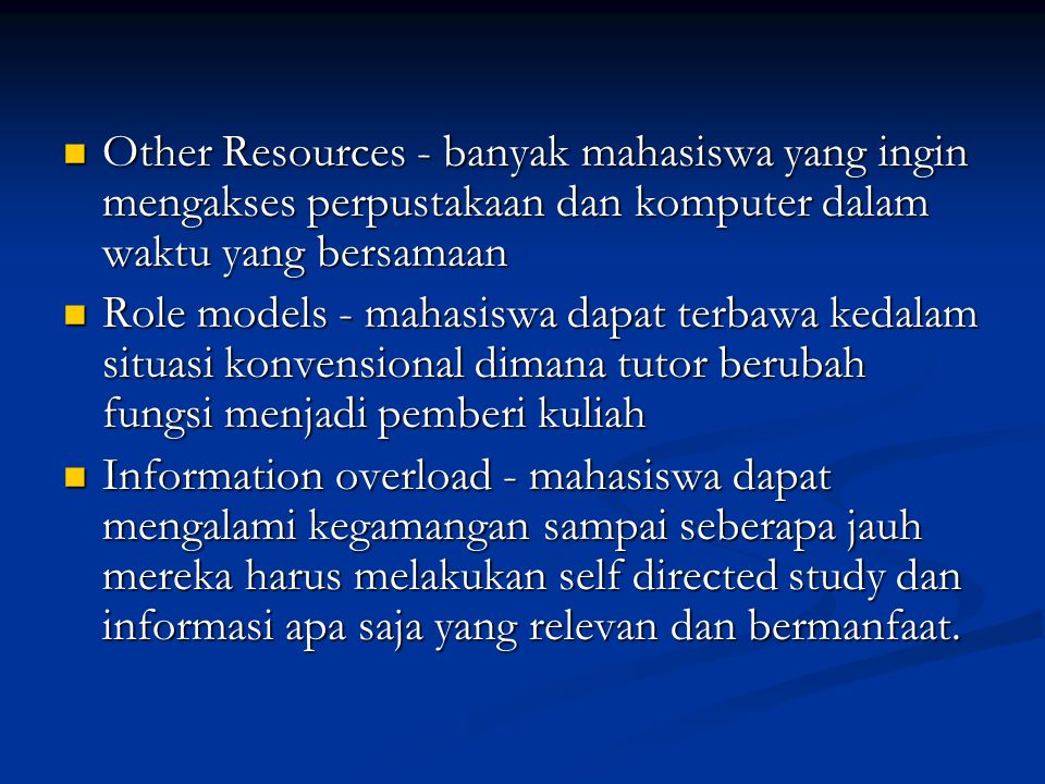Other Resources - banyak mahasiswa yang ingin mengakses perpustakaan dan komputer dalam waktu yang bersamaan