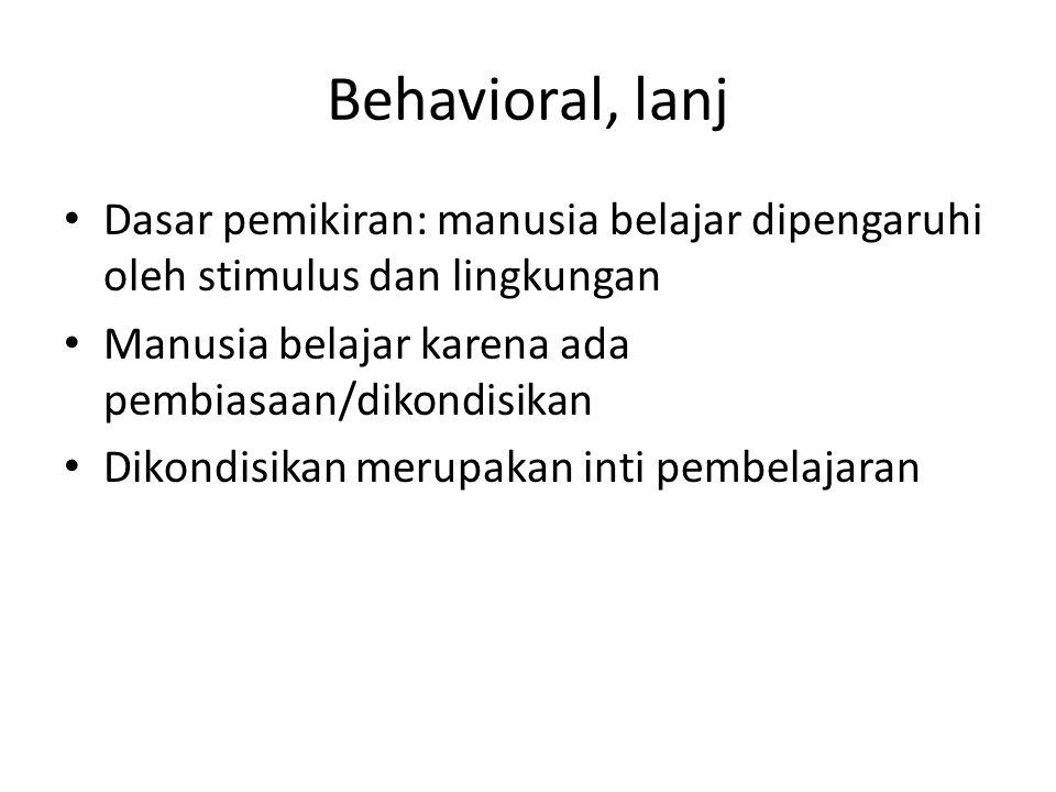 Behavioral, lanj Dasar pemikiran: manusia belajar dipengaruhi oleh stimulus dan lingkungan. Manusia belajar karena ada pembiasaan/dikondisikan.