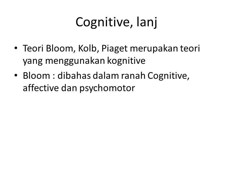 Cognitive, lanj Teori Bloom, Kolb, Piaget merupakan teori yang menggunakan kognitive.