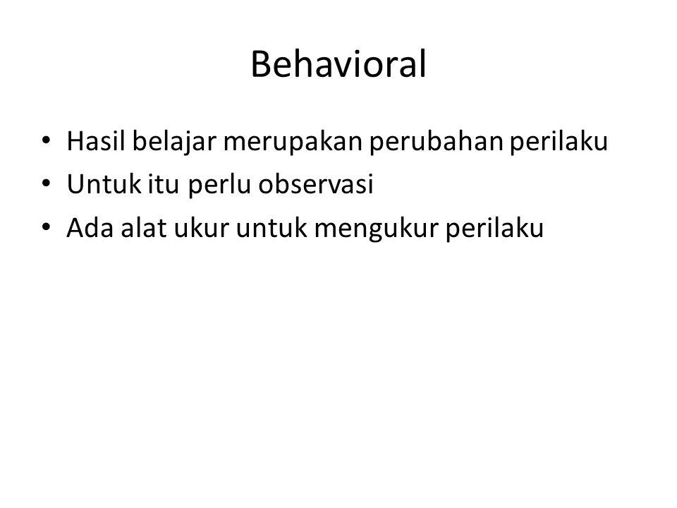 Behavioral Hasil belajar merupakan perubahan perilaku