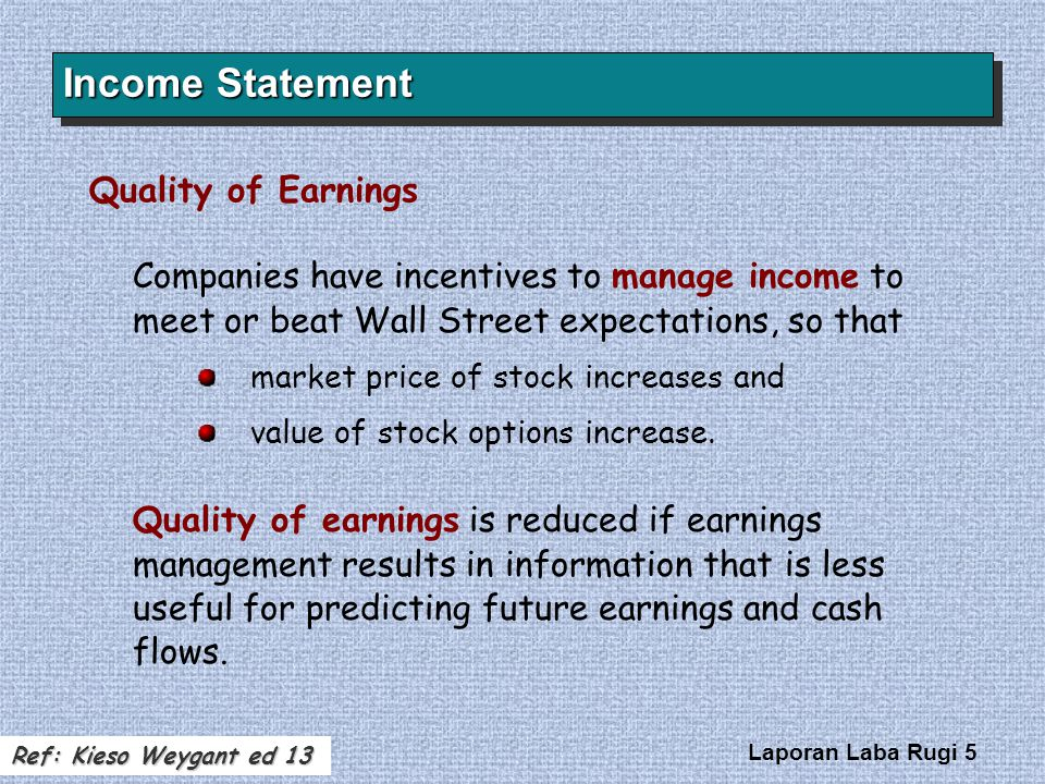 Income Statement Quality of Earnings