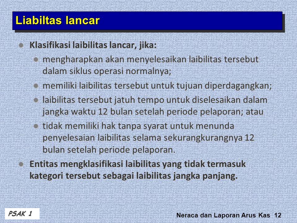 Liabiltas lancar Klasifikasi laibilitas lancar, jika: