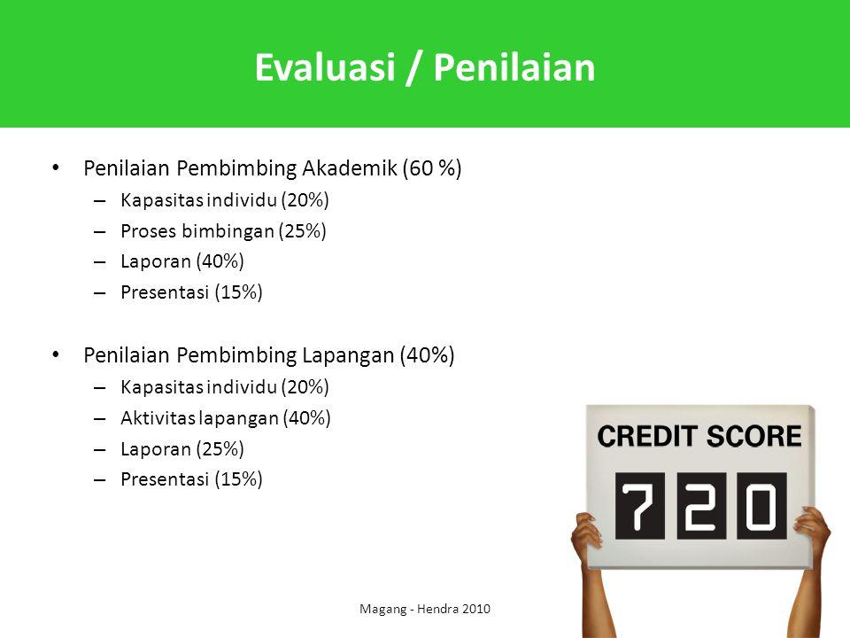 Evaluasi / Penilaian Penilaian Pembimbing Akademik (60 %)