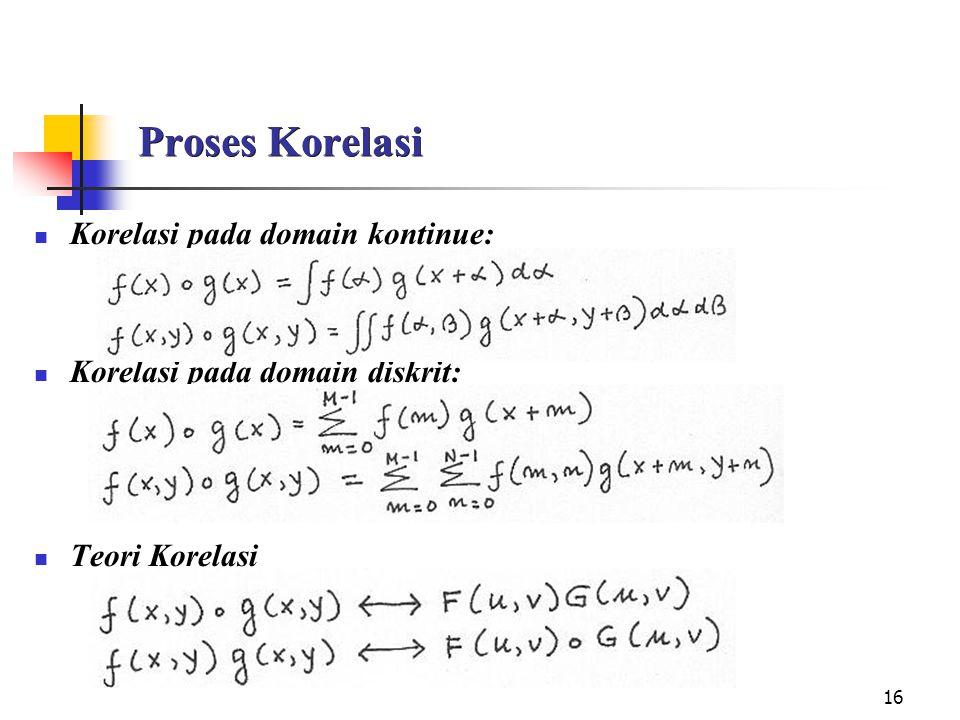 Proses Korelasi Korelasi pada domain kontinue: