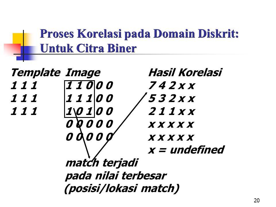 Proses Korelasi pada Domain Diskrit: Untuk Citra Biner