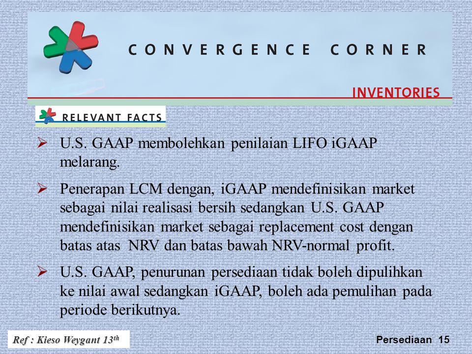 U.S. GAAP membolehkan penilaian LIFO iGAAP melarang.