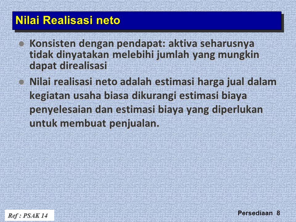 Nilai Realisasi neto Konsisten dengan pendapat: aktiva seharusnya tidak dinyatakan melebihi jumlah yang mungkin dapat direalisasi.