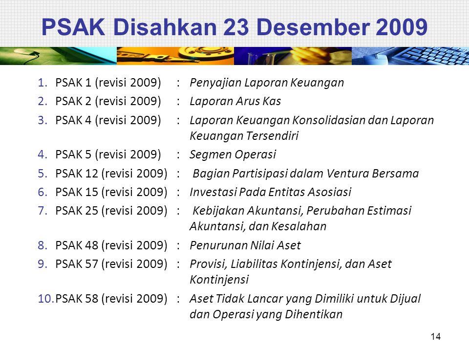 PSAK Disahkan 23 Desember 2009
