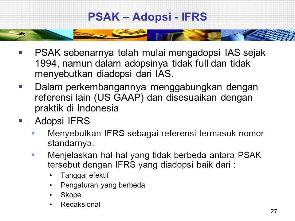 PSAK – Adopsi - IFRS PSAK sebenarnya telah mulai mengadopsi IAS sejak 1994, namun dalam adopsinya tidak full dan tidak menyebutkan diadopsi dari IAS.