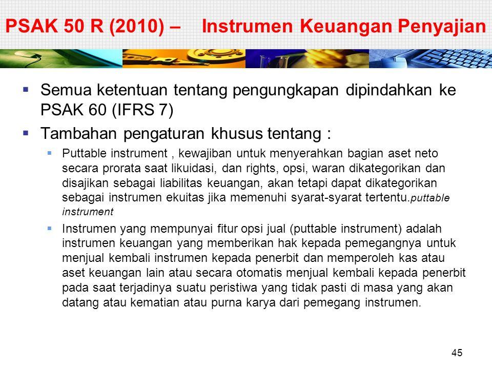 PSAK 50 R (2010) – Instrumen Keuangan Penyajian