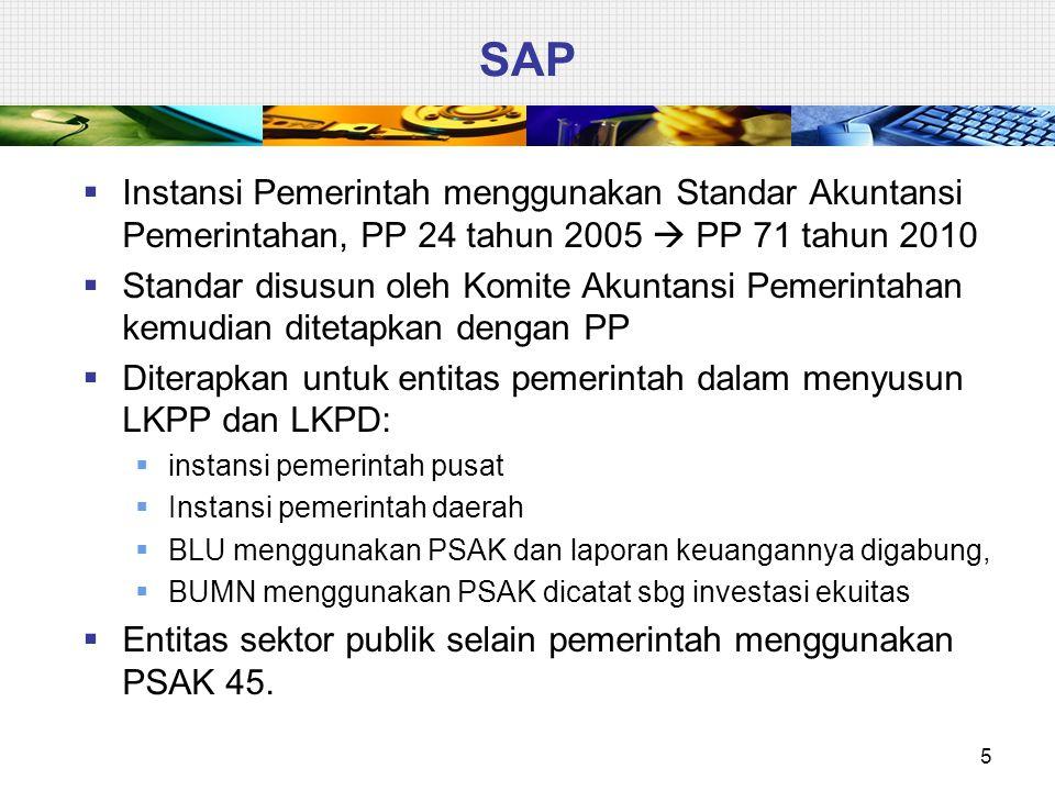 SAP Instansi Pemerintah menggunakan Standar Akuntansi Pemerintahan, PP 24 tahun 2005  PP 71 tahun 2010.