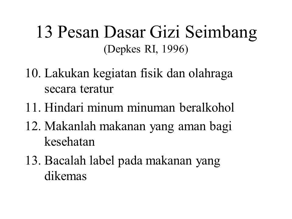 13 Pesan Dasar Gizi Seimbang (Depkes RI, 1996)