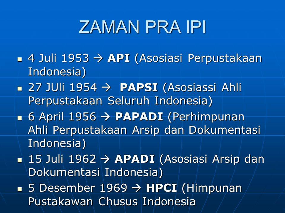 ZAMAN PRA IPI 4 Juli 1953  API (Asosiasi Perpustakaan Indonesia)