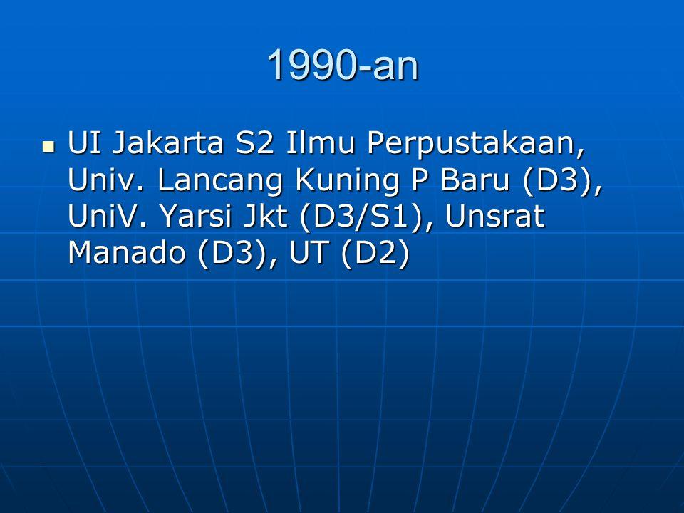1990-an UI Jakarta S2 Ilmu Perpustakaan, Univ. Lancang Kuning P Baru (D3), UniV.