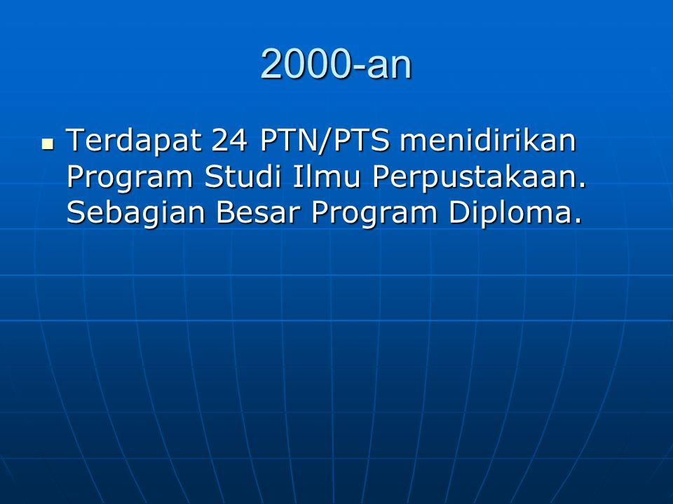 2000-an Terdapat 24 PTN/PTS menidirikan Program Studi Ilmu Perpustakaan.