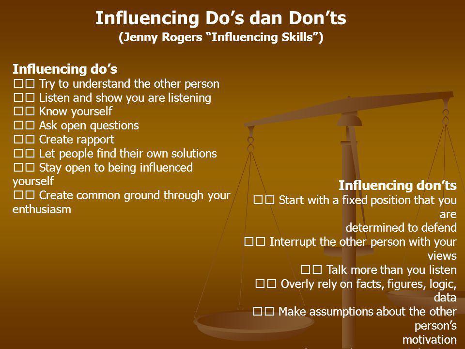 Influencing Do's dan Don'ts (Jenny Rogers Influencing Skills )