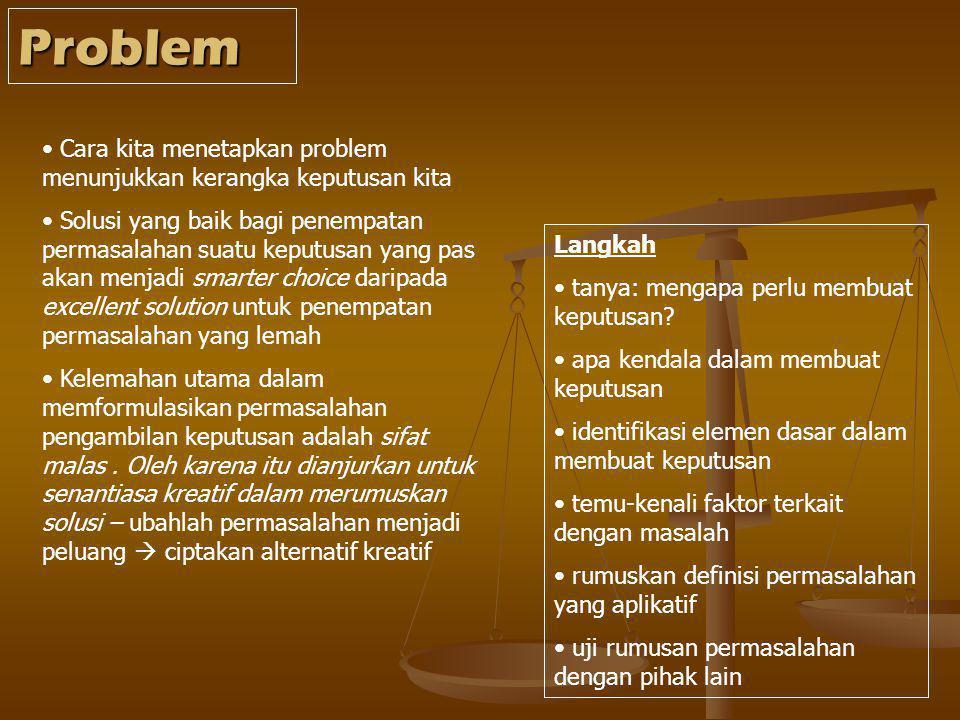Problem Cara kita menetapkan problem menunjukkan kerangka keputusan kita.