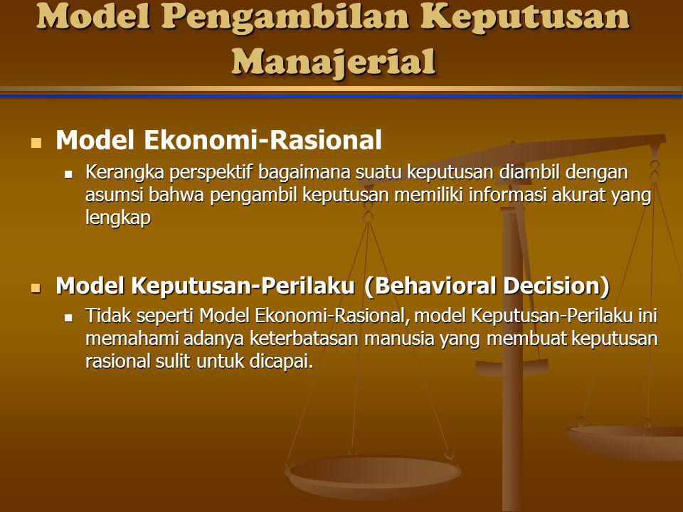 Model Pengambilan Keputusan Manajerial