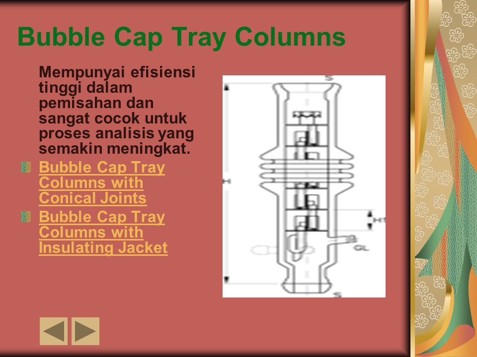 Bubble Cap Tray Columns