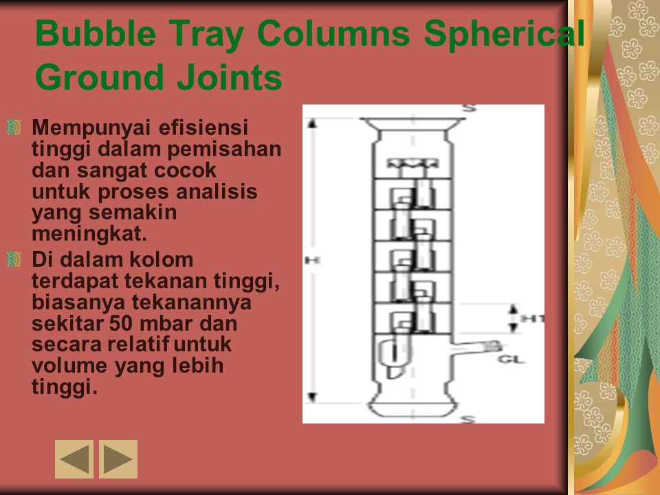 Bubble Tray Columns Spherical Ground Joints