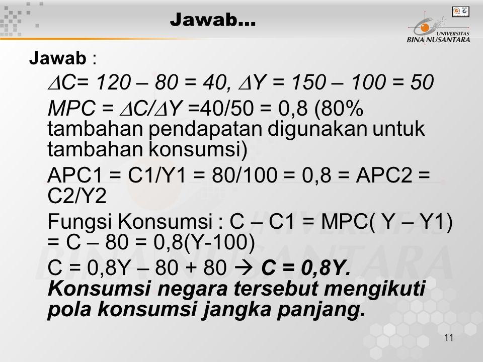 Fungsi Konsumsi : C – C1 = MPC( Y – Y1) = C – 80 = 0,8(Y-100)