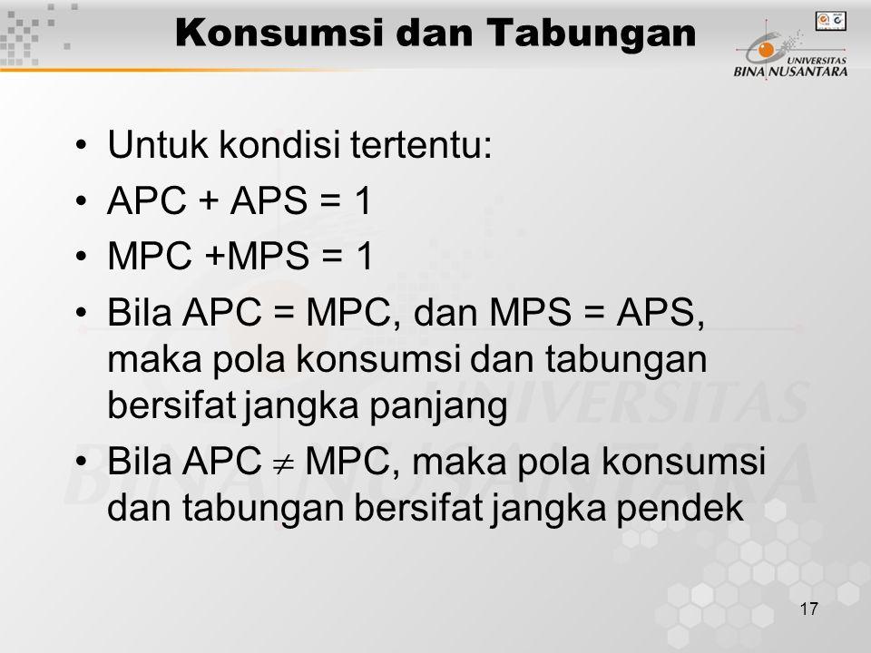 Konsumsi dan Tabungan Untuk kondisi tertentu: APC + APS = 1. MPC +MPS = 1.