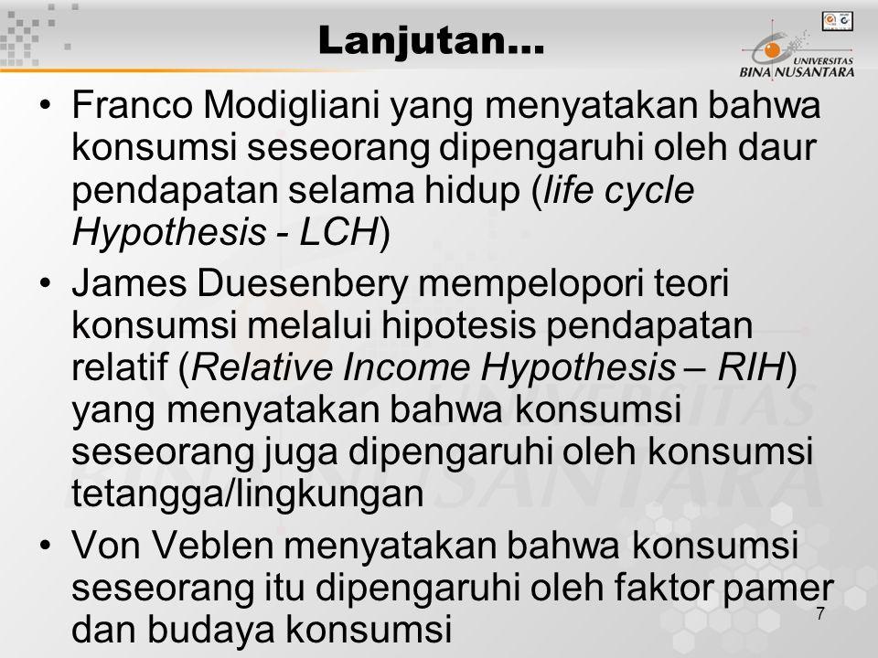 Lanjutan… Franco Modigliani yang menyatakan bahwa konsumsi seseorang dipengaruhi oleh daur pendapatan selama hidup (life cycle Hypothesis - LCH)