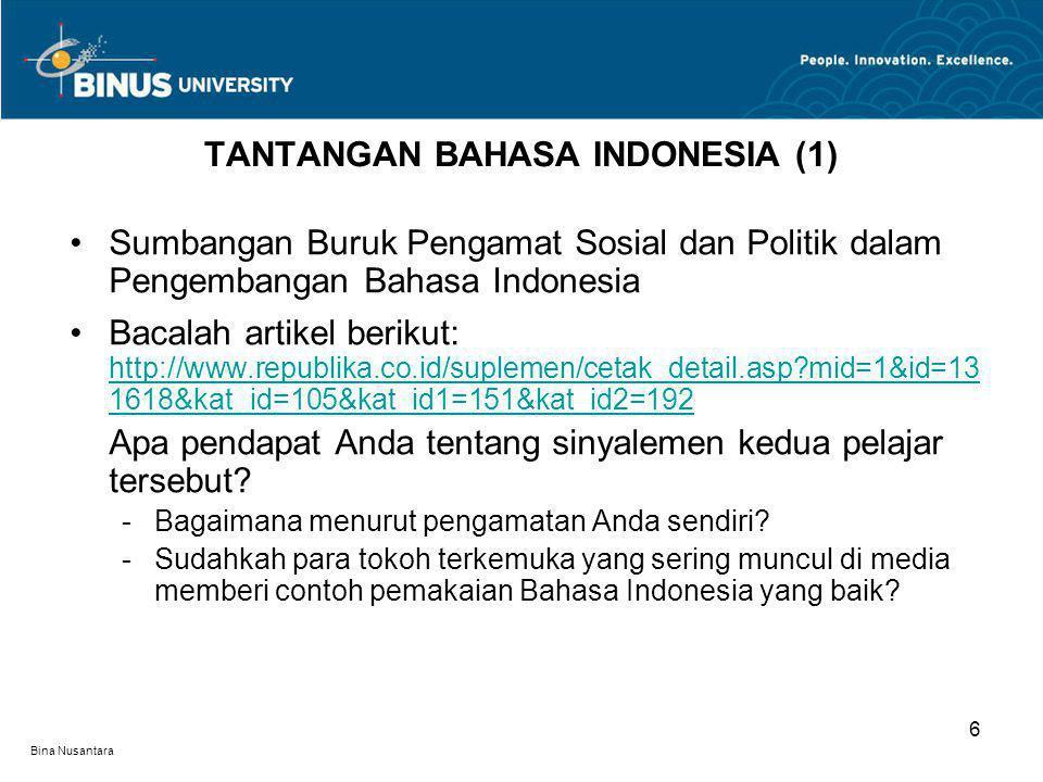 TANTANGAN BAHASA INDONESIA (1)